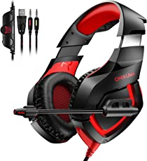 Gaming Headset für PS4 PC Xbox One, TedGem Stereo 3.5mm Gaming Kopfhörer, Noise Cancelling über Ohr Kopfhörer mit Mikrofon, LED-Licht, Bass Surround, Soft Memory-Ohrenschützer Sport Performance Ohrpolster, Lautstärkeregler