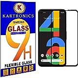 Kartronics Compatible with Google Pixel 4A [Black] 5D/6D/11D/21D Premium Tempered Glass Screen Protector Slim 9H Hard 2.5D wi