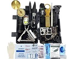 Kit de Supervivencia, 24 en 1 Multifuncional Equipo de Botiquín Primeros Auxilios profecional, Regalos Ideales de Navidad y c