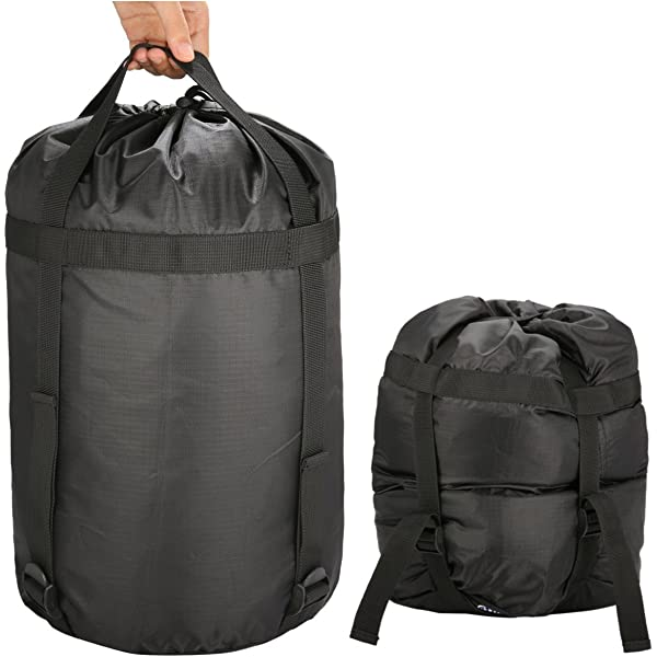 Travelling Backpacking Hiking OCOOKO Compression Stuff Sack for Sleeping Bag Water-resistant Compression Sack for Camping Black Black