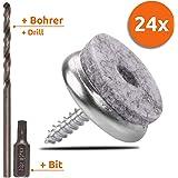 ECENCE 24stuks vilten glijders met torx-schroeven 24mm/0.94inch, set bestaande uit stoelglijders + torxbitje + drilboor, stoe