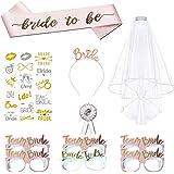 11 Pezzi Addio al nubilato Decorazione, Sposa di Essere Bride to be Satin and Veil,Badge,Sposa Cerchietti,Tatuaggi,Occhiali,S