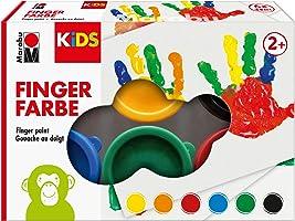 Marabu 0303000000085 - Kids Fingerfarbe Set mit 6 leuchtenden Farben a 35 ml, parabenfrei, vegan, laktosefrei,...