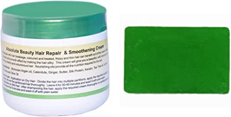 AABSOLUTE BEAUTY HAIR REPAIR AND SMOOTHENING CREAM TREATMENT MASK SILKY SHINY HAIR BREAKAGE THERAPY CHEMICALLY TREATED HAIR SHINER SHIELD SMOOTH CONDITIONER FOR DAMAGED HAIR SPA FOR DRY HAIR +ALOEVERA SOAP