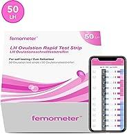 Femometer 50 x test ovulazione, Combinato con app (iOS & Android), Monitoraggio Attendibile del Ciclo e del Periodo Fertile,
