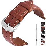 GerbGorb Correa de piel vintage en 3 colores para 18 mm, 20 mm, 22 mm, correa de repuesto universal, reloj de liberación rápi