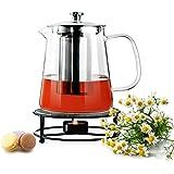 Sendez Dzbanek do herbaty 1,2 l z sitkiem ze stali nierdzewnej i podgrzewaczem, szklany dzbanek do herbaty, dzbanek ze szkła
