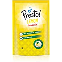Amazon Brand - Presto! Dishwash Gel Refill, Lemon - 1 L