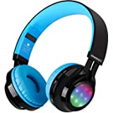 Bluetooth Headset, Riwbox AB005 Wireless Headphones 5.0 with Microphone Foldable Headphones with TF Card FM Radio and LED lig