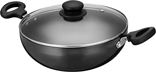 Amazon Brand - Solimo Hard Anodized Kadai, with Glass Lid, 24 cm, (Induction and Gas Compatible), Black