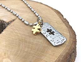 Autism awareness dog tag necklace. Stainless steel 21 inch ball chain and pendant with jigsaw puzzle piece charm. By...