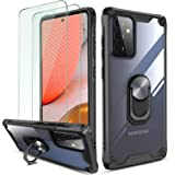 QHOHQ Hoesje voor Samsung Galaxy A72 4G/5G met 2 Pack Gehard Glas Screen Protector, [360 ° Roterende Stand] [5 keer Militaire