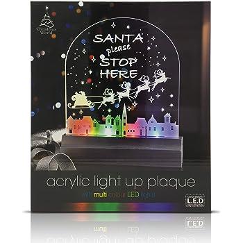 Acrylic Lights Plaque Santa Please Stop Here Sign Multi Colour LED xmas eve