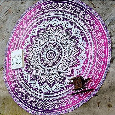 QHGstore Fader color redondo de algodón Mantel Tippet la toalla de playa Yoga Mat Ronda Púrpura