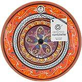 CERÁMICA RAMBLEÑA | Plato Decorativo para Colgar en Pared | Plato de cerámica | Plato decoración Mediterránea Naranja-Blanco-