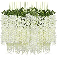 Fourwalls Artificial Polyester and Plastic Hanging Orchid Flower Vine (110 cm Tall, White, Set of 6)