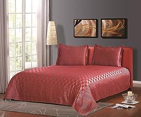 """Cloth Fusion Prima Checkered 300TC Bed Cover - Single (60""""X90""""),Maroon"""