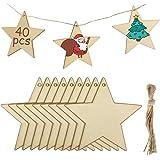 MELLIEX 40 Piezas Adornos de Madera de Colgantes de Navidad para DIY, Estrellas Colgantes de Madera con 40pcs Cordeles para A