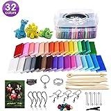 HWeggo Polymer Ton 32 Farben Clay,Ofen Backen Lehm Kinderknete DIY Kinder Handgemachtes Lernen und Bestes Geschenke für Kinder