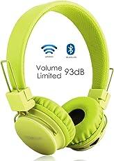 Termichy Kabellos Bluetooth Kopfhörer Kinder mit 93db Lautstärkenbeschränkung, Faltbare Tragbare Leicht kopfhoerer mit Frei Abnehmbarem Kabel, On-Ear Stereo Kopfhörer mit Shareport Musik-Anteil, Eingebautes Mikrofon für die Freisprechfunktion.(Grün)
