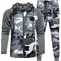 MANLUODANNI Mens Tracksuit Set Gym Bottoms Top Jogging Joggers Sports Suit Zip Hoodie Jacket Pants
