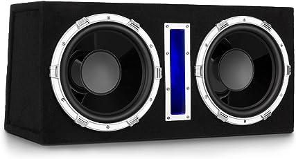auna Basswaver X 10L Subwoofer Auto-Subwoofer Doppel-Subwoofer Car-HiFi-Subwoofer Leistung: 2100 Watt 2 x 25 cm Tieftöner 3,8 cm Schwingspule MP3-Eingang Filzbeschichtung Schwarz