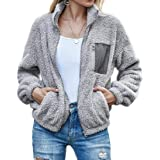 H&E Women's Fall Winter Flannel Zip Front Sweatshirt Color Blocked Jacket Coat Outerwear