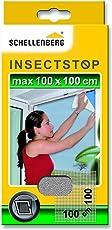 Schellenberg 50710 Fliegengitter für Fenster | zuverlässiger Schutz vor Mücken, Fliegen, Insekten & Ungeziefer | Maße: 100 x 100 cm | weiß | einfache Montage ohne bohren | inkl. Befestigungsband