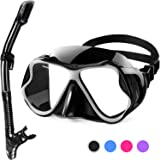 Karvipark Dry Snorkel Set,Anti-Fog Scuba Diving Mask,Panoramic Wide View Diving Goggle,Easy Breathing and Professional Snorke