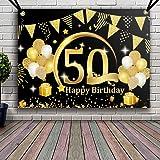 APERIL Decoración de Fiesta de 50 Cumpleaños de Oro Negro, Póster de Tela Cartel Extra Grande para 50 Aniversario Feliz Cumpl