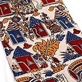 #10: Shopolics 2.5 Meter Navy Blue Red and Cream Village Pattern Kalamkari Cotton Fabric