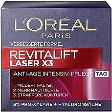 L'Oreal Paris Revitalift Laser X3 Tagespflege mit Hyaluronsäure, mildert Falten und strafft die Haut, 50 ml