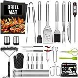 34 PCS BBQ Grillbesteck Tool Set AILUKI Edelstahl Grillzubehör Koffer Thermometer Grillset in Aluminium…