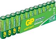 GP Batteries GP15G Greencell R6P/1215/AA  Kalem Pil, 1.5 Volt, 12'li Paket, Yeşil/Sarı/Beyaz