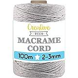 Creative Deco 100 m Licht-Grijs Macrame Koord Katoenen Koord | 2-3 mm (+-0.5 mm) Dikte 15-laags Koord | 328 Voeten | Grote To