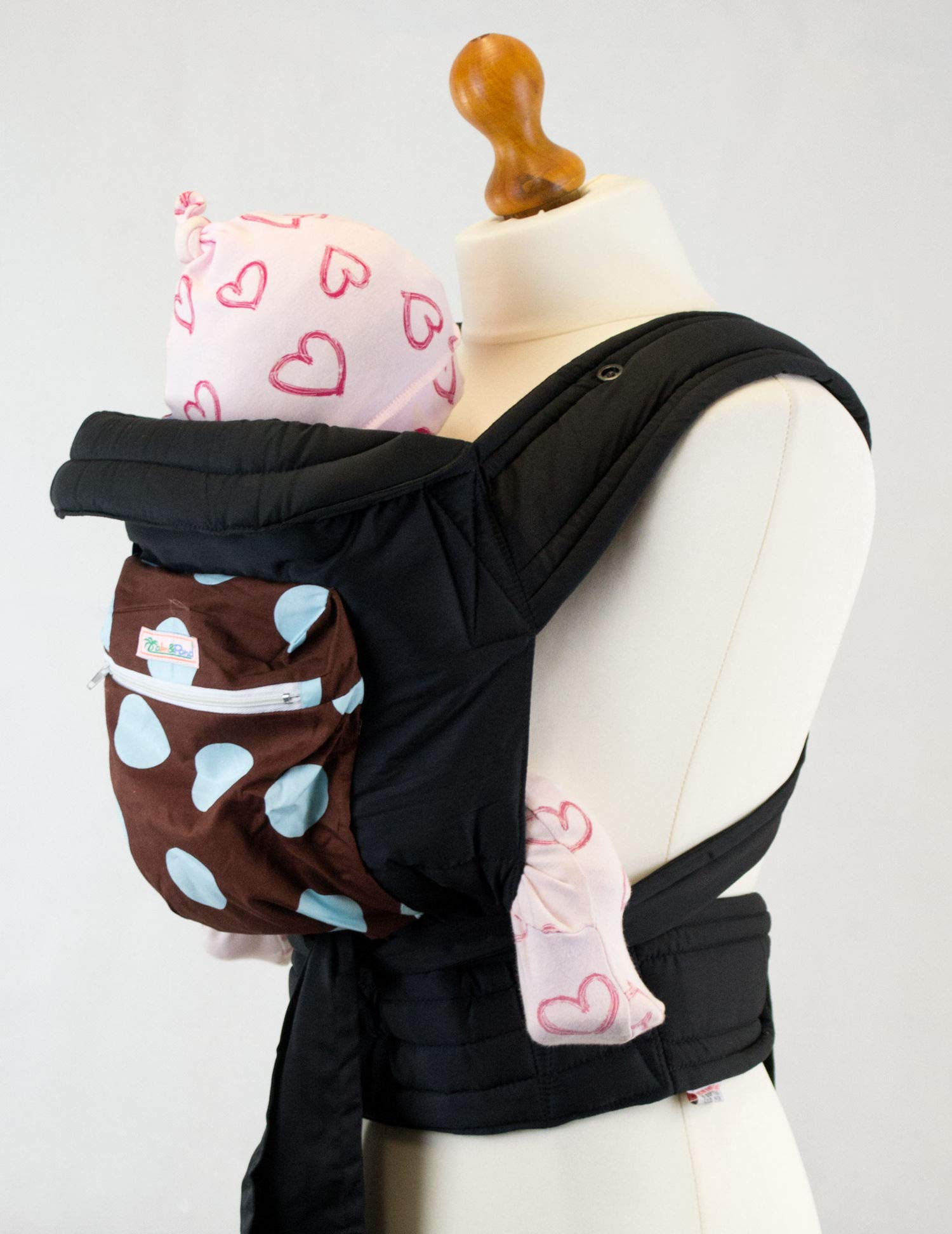 """Mei Tai Baby Carrier Sling with Hood and Pocket - Brown with Baby Blue Spots Palm & Pond Suitable for babies from birth to 35lbs. The waist strap is 180cm in length and each shoulder strap is 150cm. Full instructions on how to tie the Mei Tai in three positions, """"Front"""", """"Back"""" and Hip"""" will be sent with your sling. 2"""