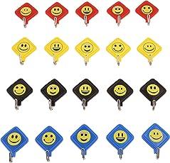 Tiamo Plastic Kite Smiley Key Hanging Hooks (Multicolour) - Set of 20