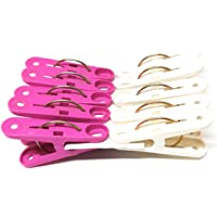 HOMEPLASTO Large Size (2.5 inches) Plastic Cloth Hanging Clips - 20 Pcs (2 Packs x 10) Pink & White