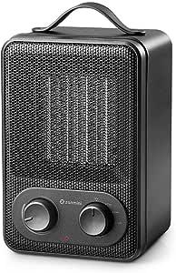 Zanmini Réchauffeur électrique portable radiateur soufflant en céramique 1800W PTC mini radiateur à vent chaud chauffage pour la cuisine, salle à manger, chambre, bureau (Noir)