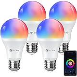 TECKIN Lampadina Led intelligente Wifi con luce calda 2800k-6200k+Rgbw, multicolore E27 lampadina smart Compatibile con Alexa