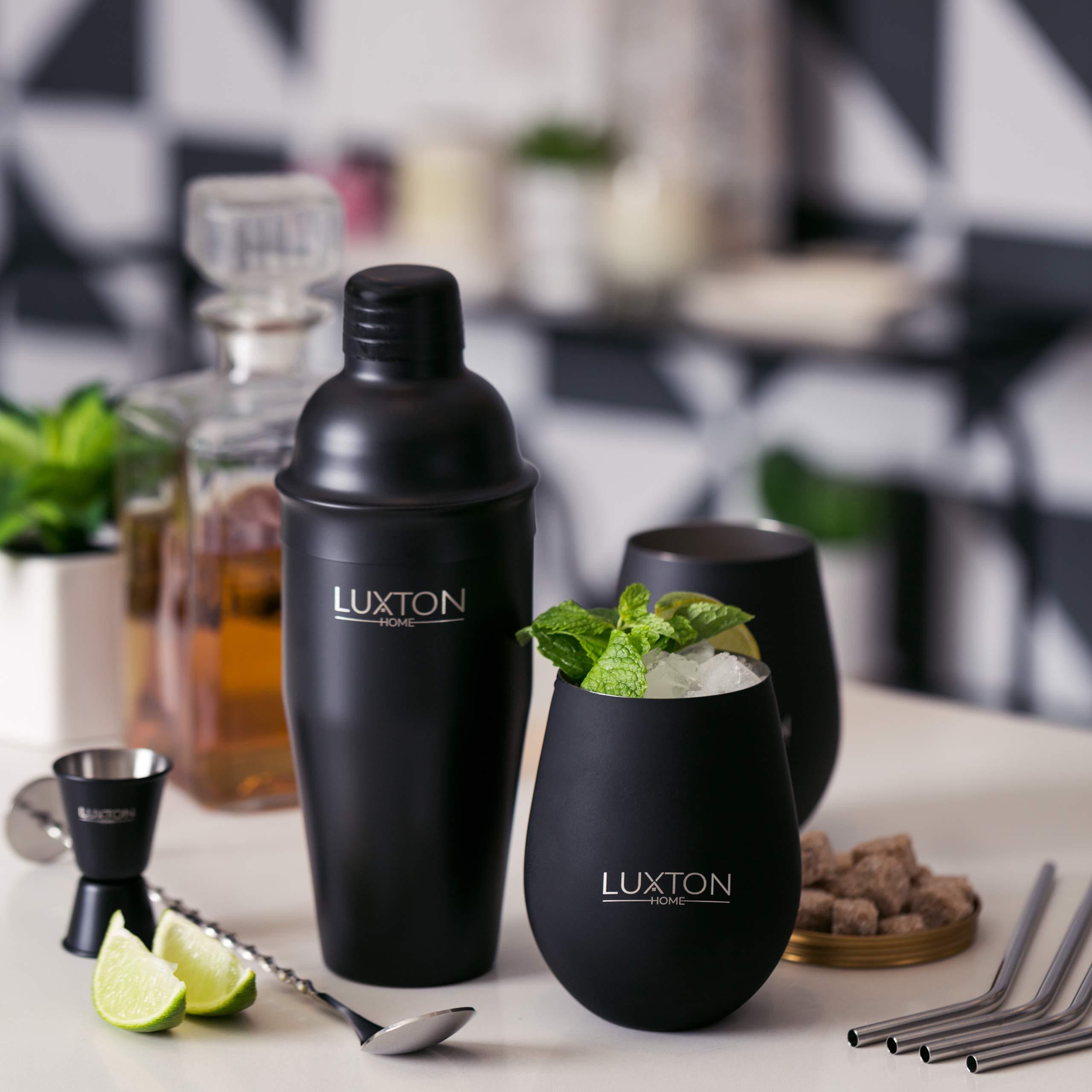 Luxton-Home-Ultimate-Cocktail-Shaker-Set-inkl-2-Tassen-und-4-Strohhalmen-Mattschwarz