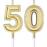 Bougies de 50e Anniversaire Bougies de Numéro de Gâteau Bougies de Gâteau Joyeux Anniversaire Décoration de Topper pour…