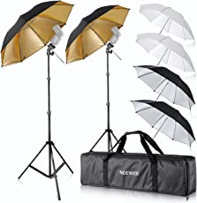 """Neewer® Foto Studio 2x Drei Regenschirme Kit 2x 33""""/ 84cm Weisser Weicher Schirm + 2x 33"""" / 84cm Silberner Reflektorschirm + 2x 38""""/ 96,5 cm Goldener Reflektierender Schirm für Produkt, Portrait und Video Aufnahme Fotografie"""
