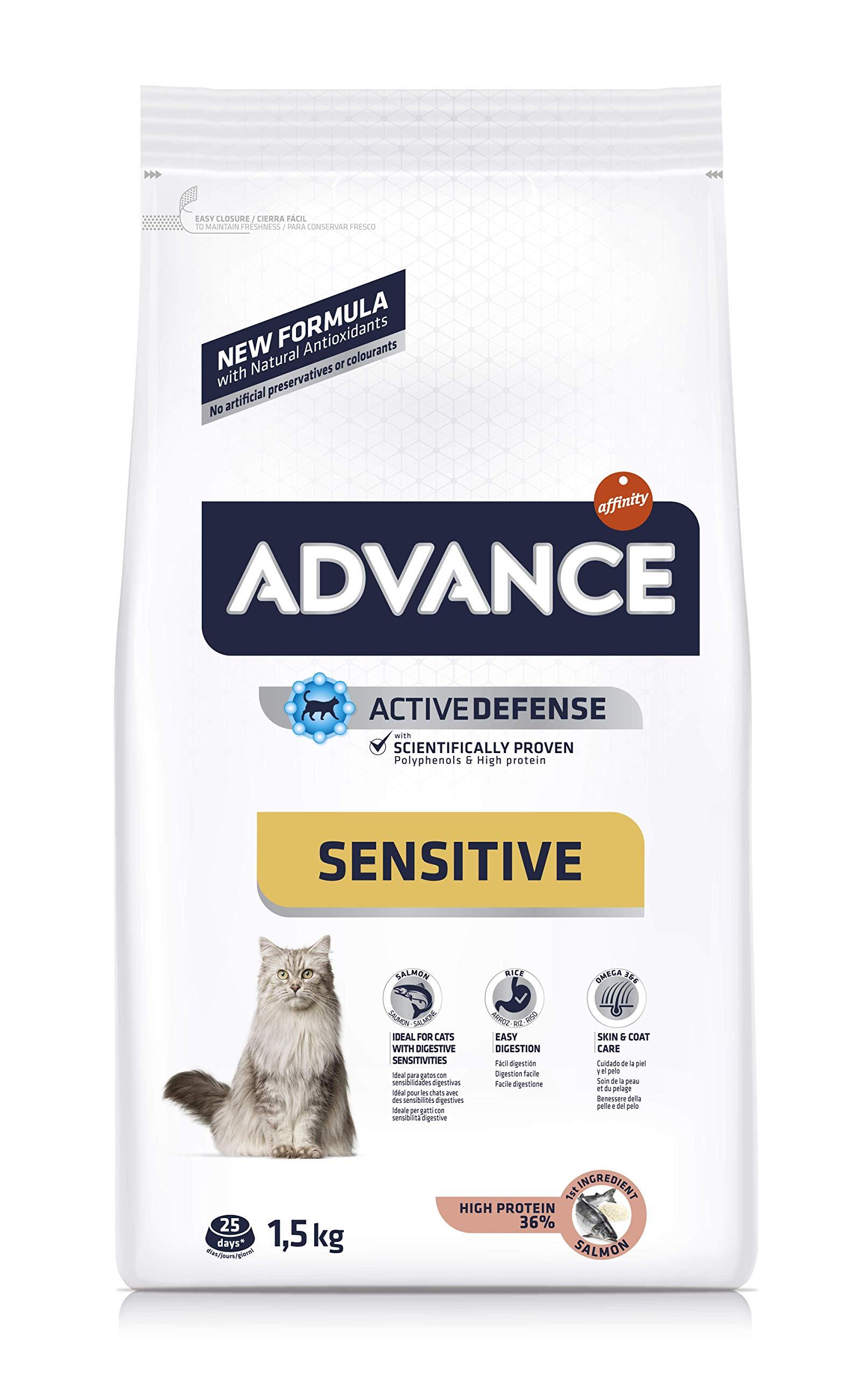 Advance Sensitive – Pienso para Gatos con sensibilidades digestivas – 1.5 kg