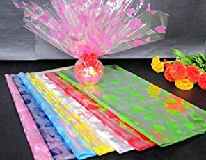 TOTAL HOME: ( 5pcs) Transparent Cellophane Wrap Film Paper Roll For Florist Flower Gift Box 20inch x 5feet