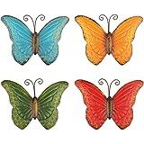 YiYa 4 PCS Decorazione da Parete Farfalla in Metallo Farfalla da Parete per Recinzione da Giardino Interno o Esterno