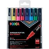 POSCA - Uni Mitsubishi Pencil - 8 Marqueurs PC3M - Pointe Conique - Pointe Fine - Marqueurs Peinture à Base d'Eau - Tout Supp