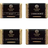 CHARM OWN 100% Natural Handmade Soap   Goat & Coconut Milk, Black Seed, Charcoal, Red Sandal Combo   No Artificial Color   Pa