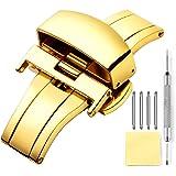 Montre Boucle Deployante Fermoir pour Bracelet de Montres en Acier Inoxydable Polissage Remplacement en Or, Or Rose, Argent,