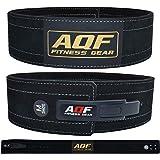 "AQF Cintura Palestra Uomo Pelle 4"" per Sollevamento Pesi, Suède Pelle Cintura Powerlifting Fibbia a Leva Supporto Lombare pou"